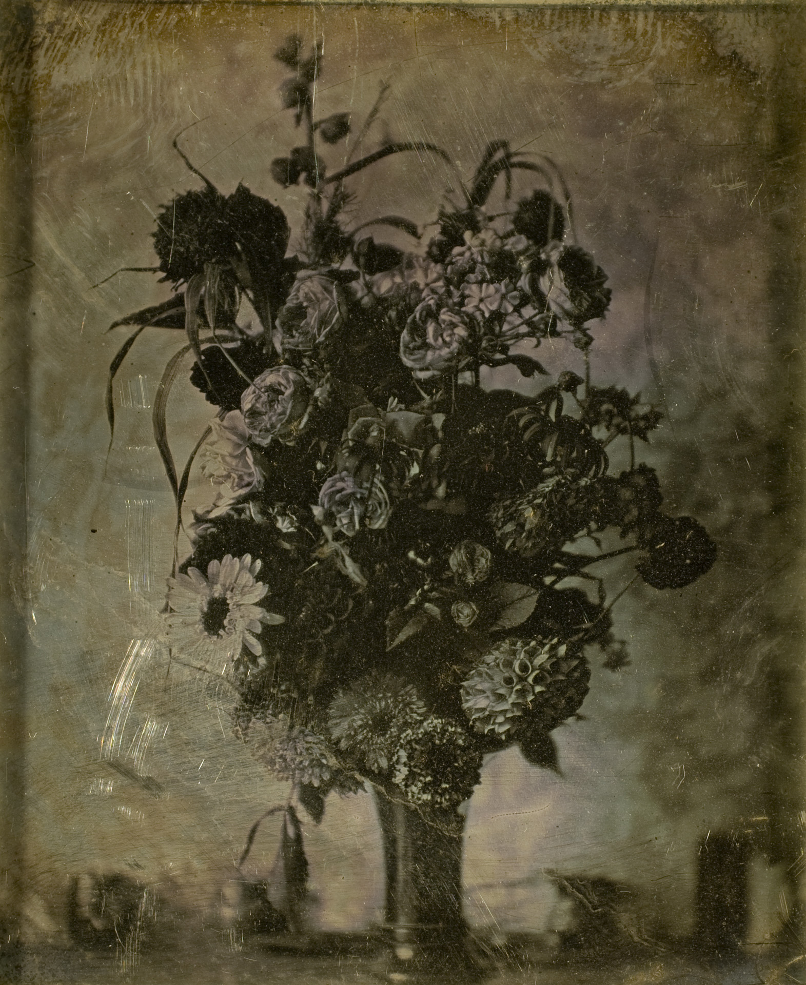 Cromer's Amateur (French), CA 1845, daguerreotype image of a bouquet of flowers measuring 2 7/8 by 2 3/8 inch, owned by George Eastman Museum, a gift of Eastman Kodak Company