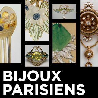 Bijoux Parisiens exhibition image with selection of jewelry pieces
