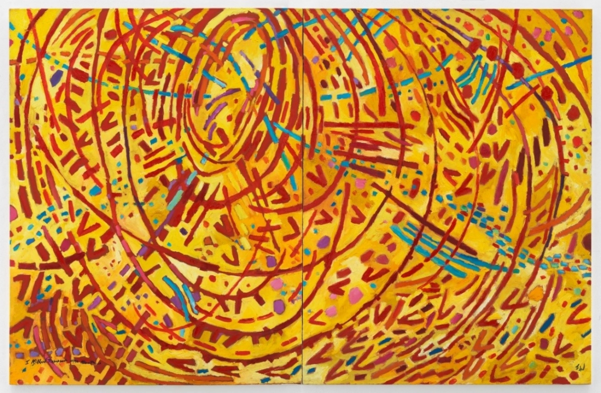 Photo of a bright yellow painting with many, long, curving red lines that form a circle, spreading outwards across the entire space. Short dashes of blue, purple, and pink lines are sprinkled all throughout, some of them flowing straight into the center of the circles of red lines.