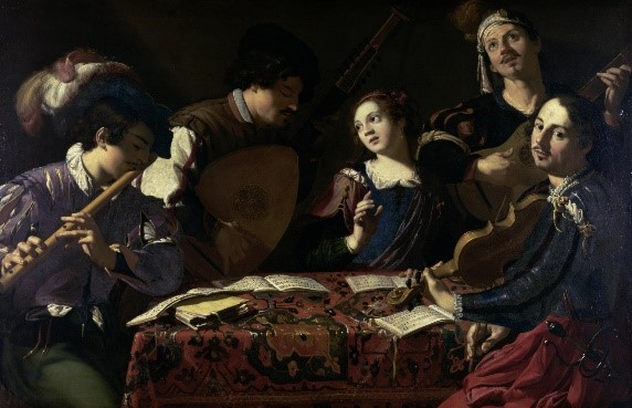 Painting of five people in Baroque era clothing sitting around a square table playing various instruments together.