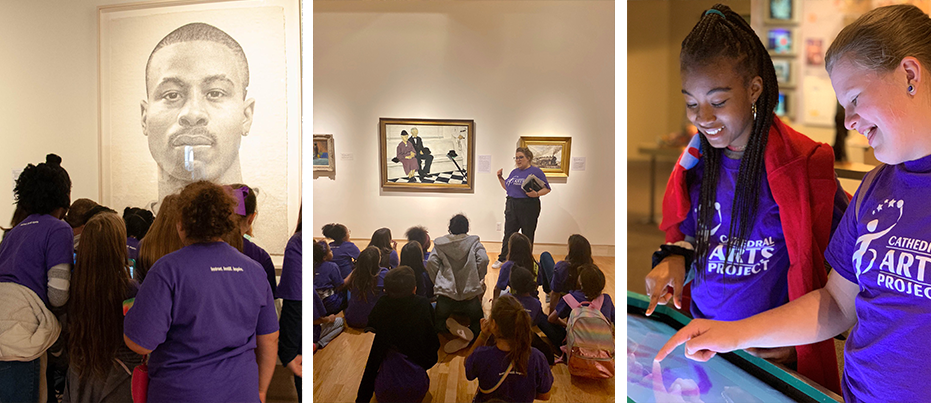 Catherdal Arts Project students in a gallery looking at art and drawing on a tablet.