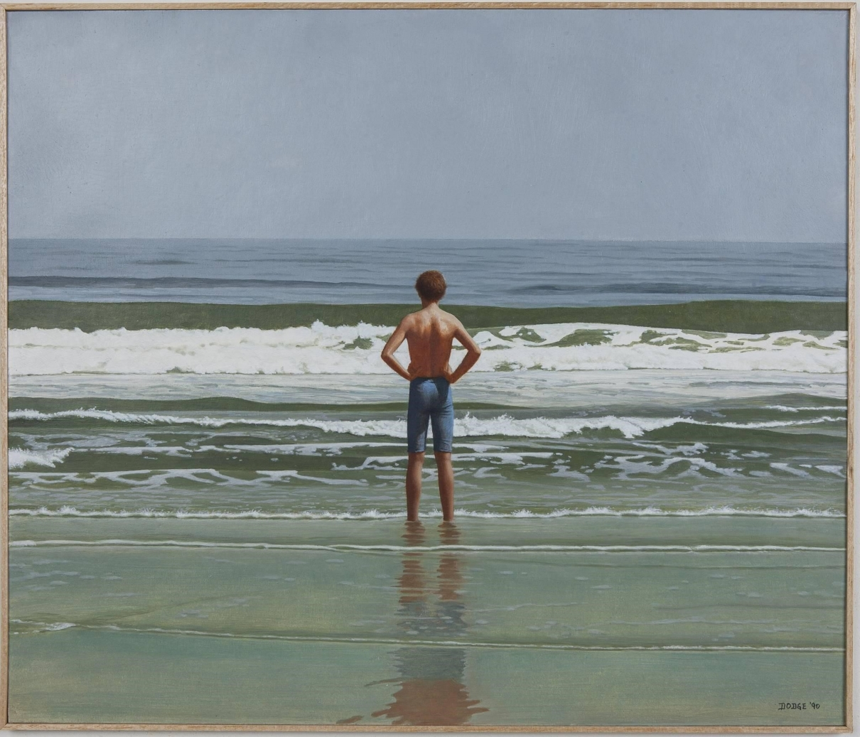 Painting of a young boy wearing swim trunks, with his hands on his hips, standing at the edge of the beach shore. His back is towards the viewer as he faces the white-foam of waves and the ocean.
