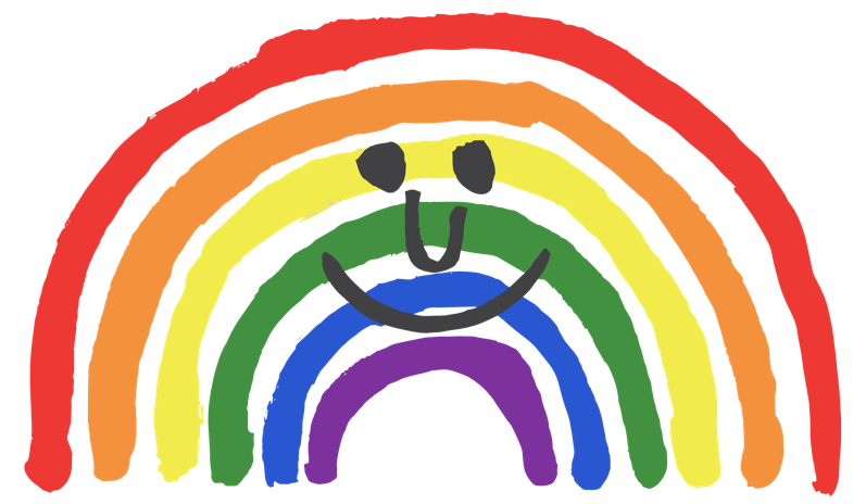 Digital drawing of a smiling rainbow with arching red, orange, yellow, green, blue, and purple lines and a smiley face with black marks that form the eyes, nose and upturned mouth.