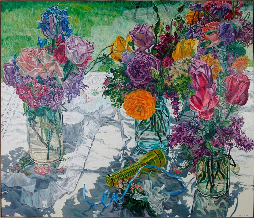 Painting of three glass jars filled with freshly cut rainbow bouquets of flowers. The jars sit atop a white cloth and the flowers bask in the bright sunlight, casting shadows.